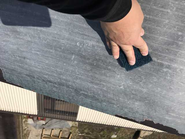 瓦棒屋根の研磨