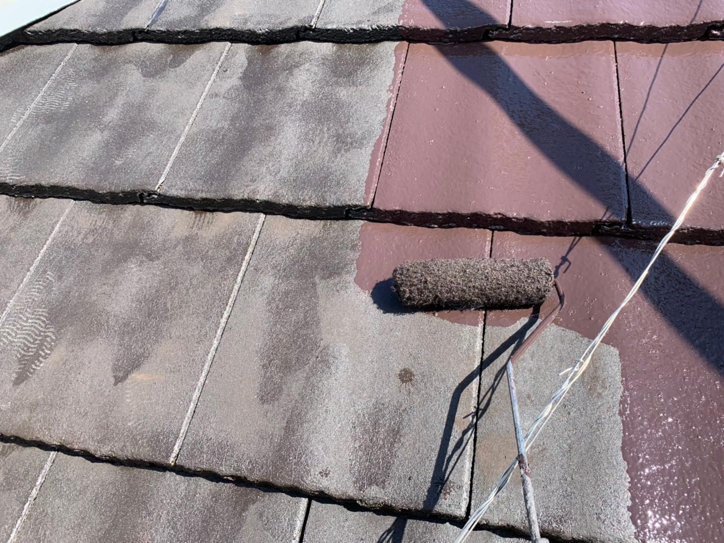モニエル瓦屋根の上塗り